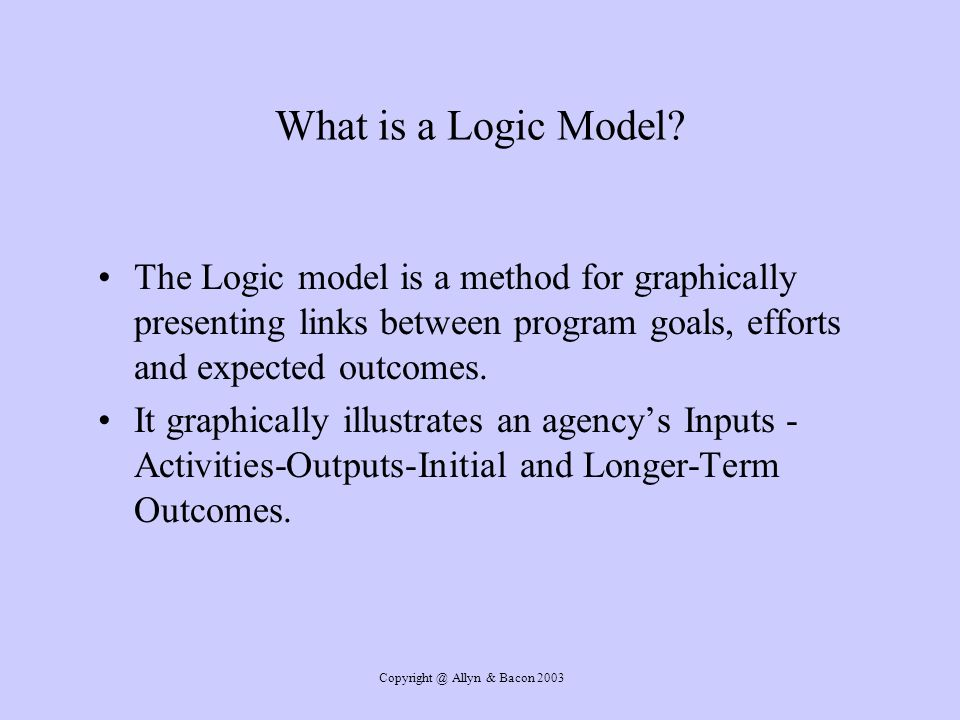 Copyright @ Allyn & Bacon 2003 What is a Logic Model.