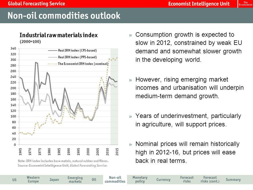 Consumption growth is expected to slow in 2012, constrained by weak EU demand and somewhat slower growth in the developing world. However, rising emer