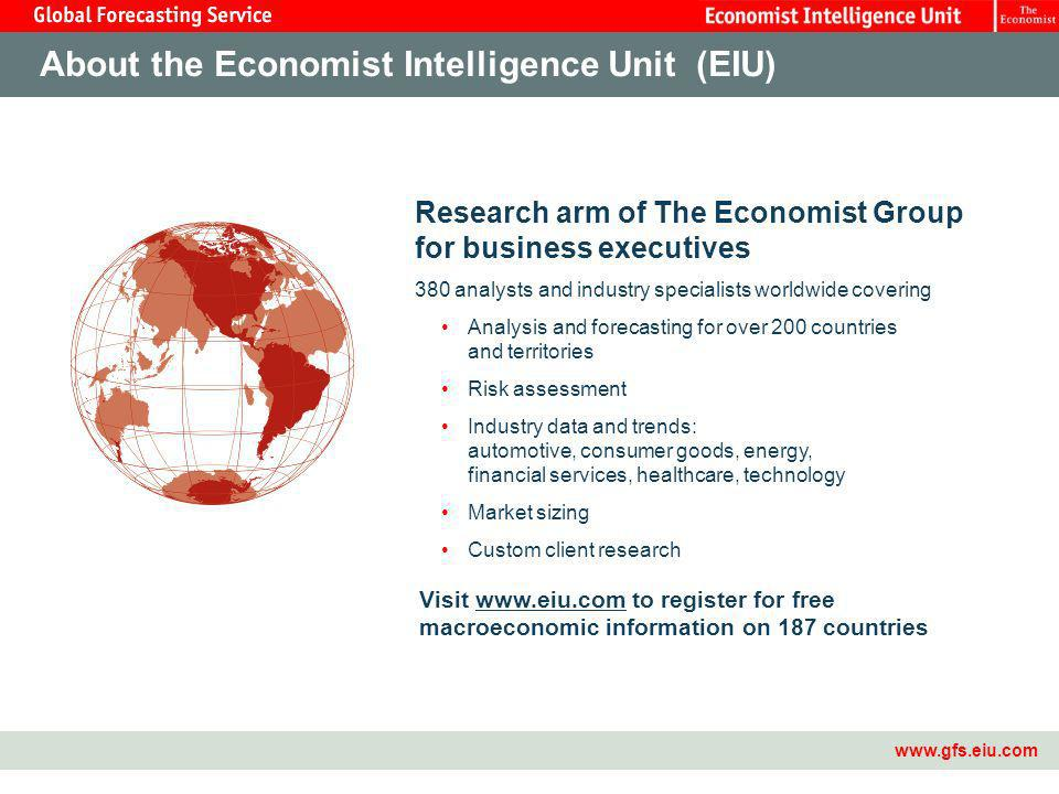 Master Template2 www.gfs.eiu.com Research arm of The Economist Group for business executives 380 analysts and industry specialists worldwide covering