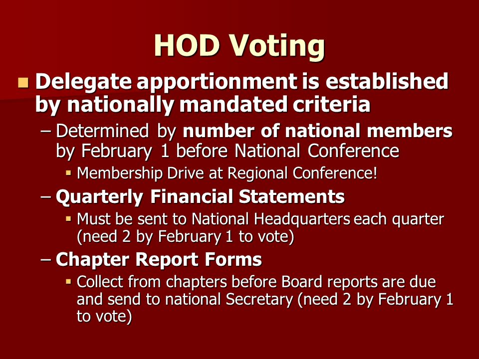 HOD Voting Delegate apportionment is established by nationally mandated criteria Delegate apportionment is established by nationally mandated criteria –Determined by number of national members by February 1 before National Conference Membership Drive at Regional Conference.