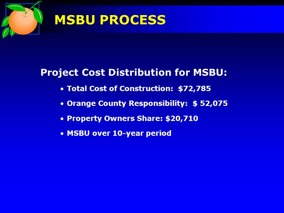 Project Cost Distribution for MSBU: Total Cost of Construction: $72,785 Orange County Responsibility: $ 52,075 Property Owners Share: $20,710 MSBU over 10-year period MSBU PROCESS