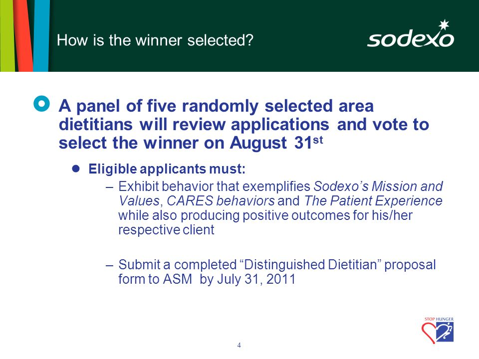 4 A panel of five randomly selected area dietitians will review applications and vote to select the winner on August 31 st Eligible applicants must: –Exhibit behavior that exemplifies Sodexos Mission and Values, CARES behaviors and The Patient Experience while also producing positive outcomes for his/her respective client –Submit a completed Distinguished Dietitian proposal form to ASM by July 31, 2011 How is the winner selected