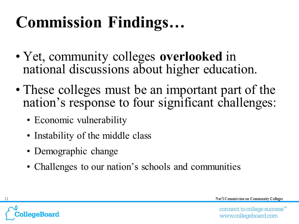 11Natl Commission on Community Colleges Commission Findings… Yet, community colleges overlooked in national discussions about higher education. These