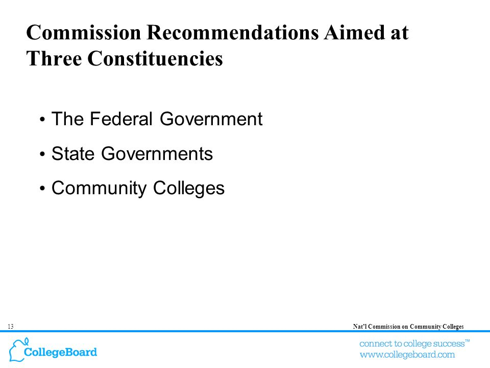 13Natl Commission on Community Colleges Commission Recommendations Aimed at Three Constituencies The Federal Government State Governments Community Co