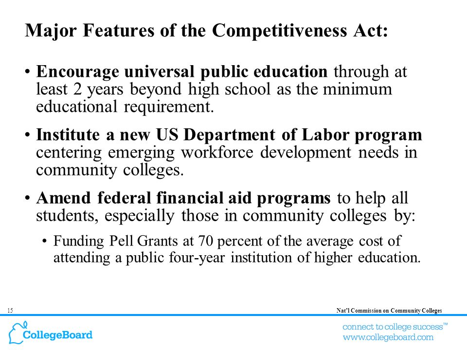 15Natl Commission on Community Colleges Major Features of the Competitiveness Act: Encourage universal public education through at least 2 years beyond high school as the minimum educational requirement.