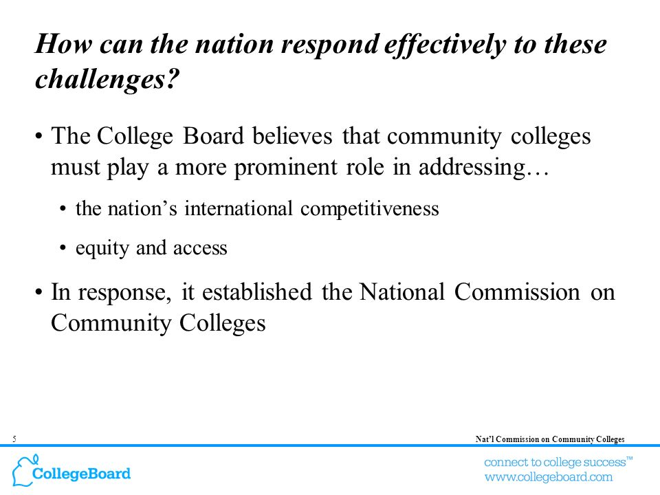 6Natl Commission on Community Colleges The Charge of the National Commission on Community Colleges The Commission on Community Colleges will develop a report that documents the critical role that community colleges play in American education and will make recommendations on how the influence of these institutions can be expanded to respond to the challenges facing the nation.