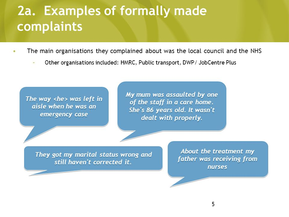 5 2a. Examples of formally made complaints The main organisations they complained about was the local council and the NHS –Other organisations include