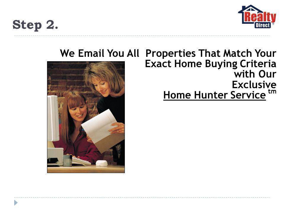Step 2. We Email You All Properties That Match Your Exact Home Buying Criteria with Our Exclusive Home Hunter Service tm