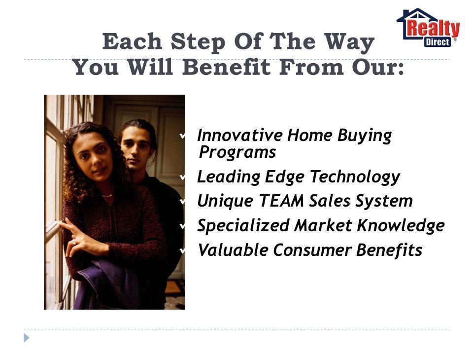 Each Step Of The Way You Will Benefit From Our: Innovative Home Buying Programs Leading Edge Technology Unique TEAM Sales System Specialized Market Knowledge Valuable Consumer Benefits