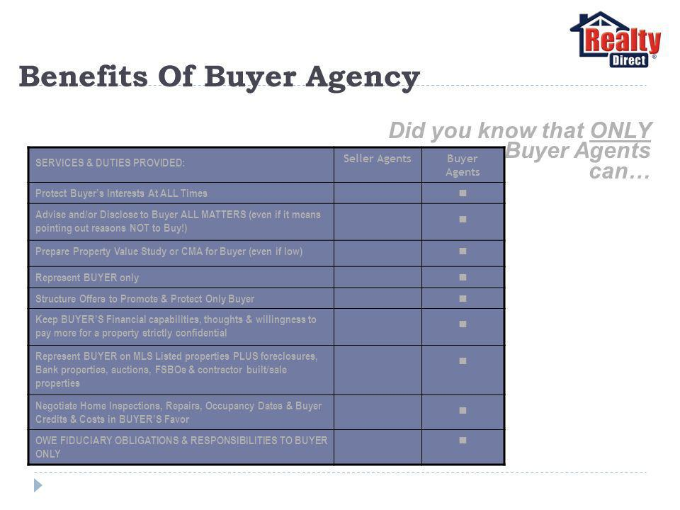Benefits Of Buyer Agency Did you know that ONLY Buyer Agents can… SERVICES & DUTIES PROVIDED: Seller AgentsBuyer Agents Protect Buyers Interests At ALL Times Advise and/or Disclose to Buyer ALL MATTERS (even if it means pointing out reasons NOT to Buy!) Prepare Property Value Study or CMA for Buyer (even if low) Represent BUYER only Structure Offers to Promote & Protect Only Buyer Keep BUYERS Financial capabilities, thoughts & willingness to pay more for a property strictly confidential Represent BUYER on MLS Listed properties PLUS foreclosures, Bank properties, auctions, FSBOs & contractor built/sale properties Negotiate Home Inspections, Repairs, Occupancy Dates & Buyer Credits & Costs in BUYERS Favor OWE FIDUCIARY OBLIGATIONS & RESPONSIBILITIES TO BUYER ONLY