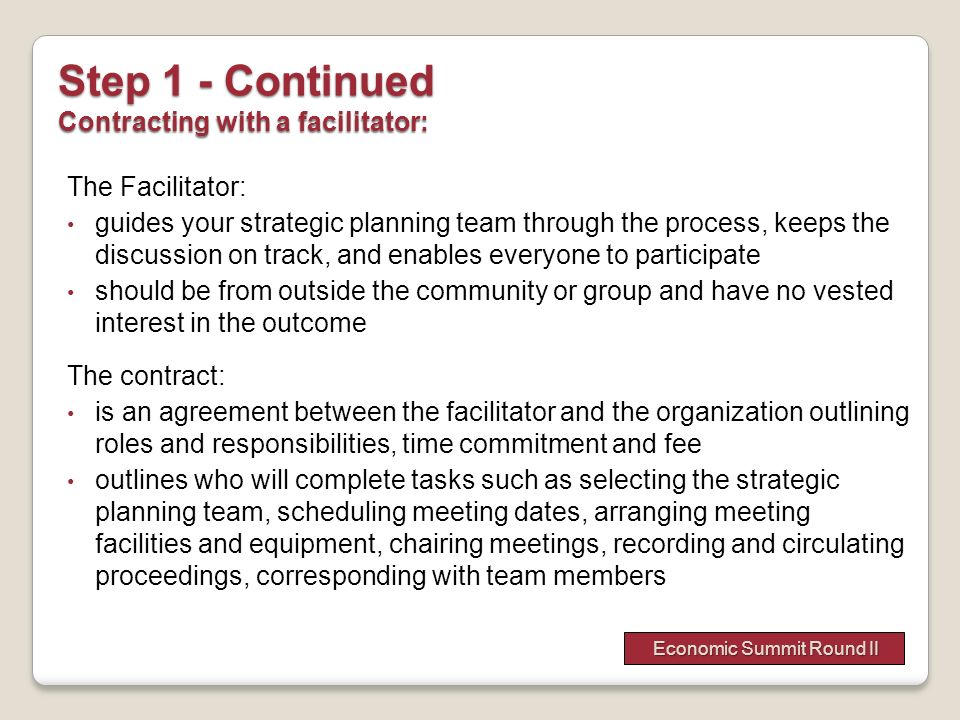The Facilitator: guides your strategic planning team through the process, keeps the discussion on track, and enables everyone to participate should be