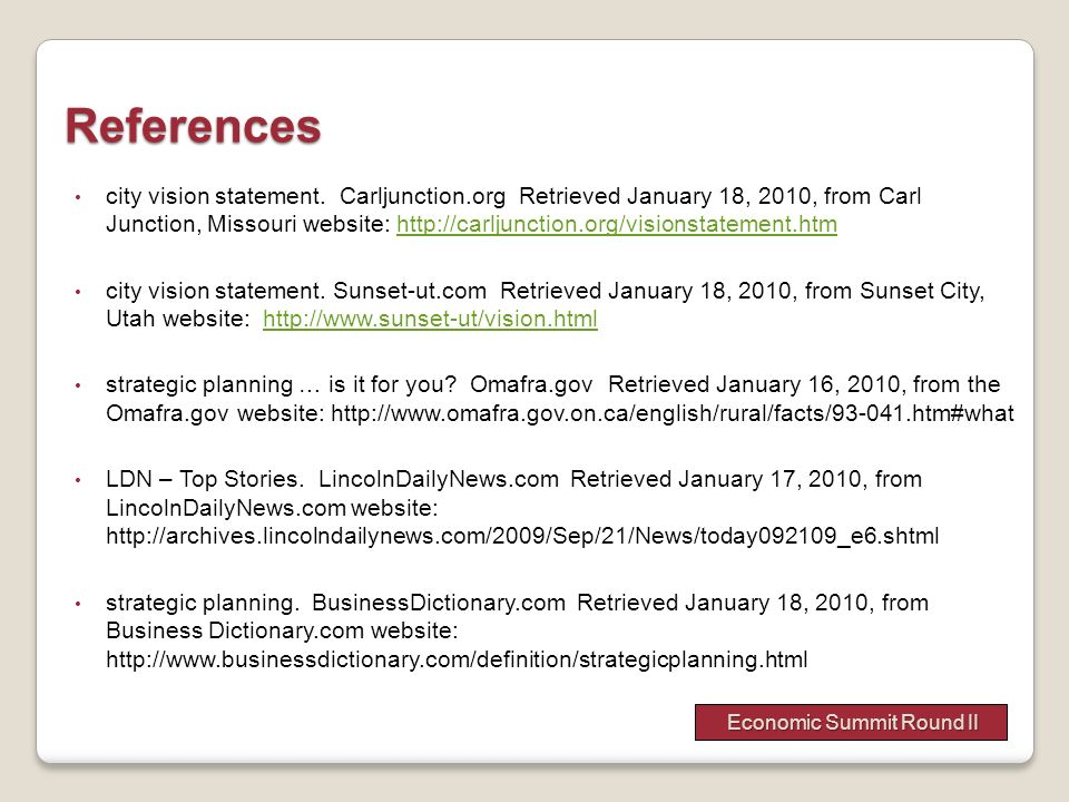 References city vision statement. Carljunction.org Retrieved January 18, 2010, from Carl Junction, Missouri website: http://carljunction.org/visionsta