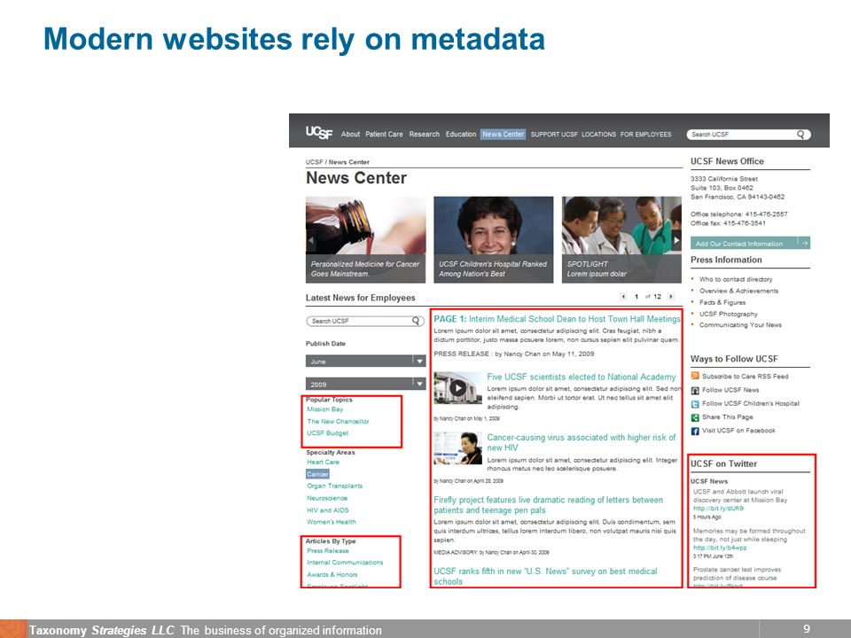 9 Taxonomy Strategies LLC The business of organized information Modern websites rely on metadata