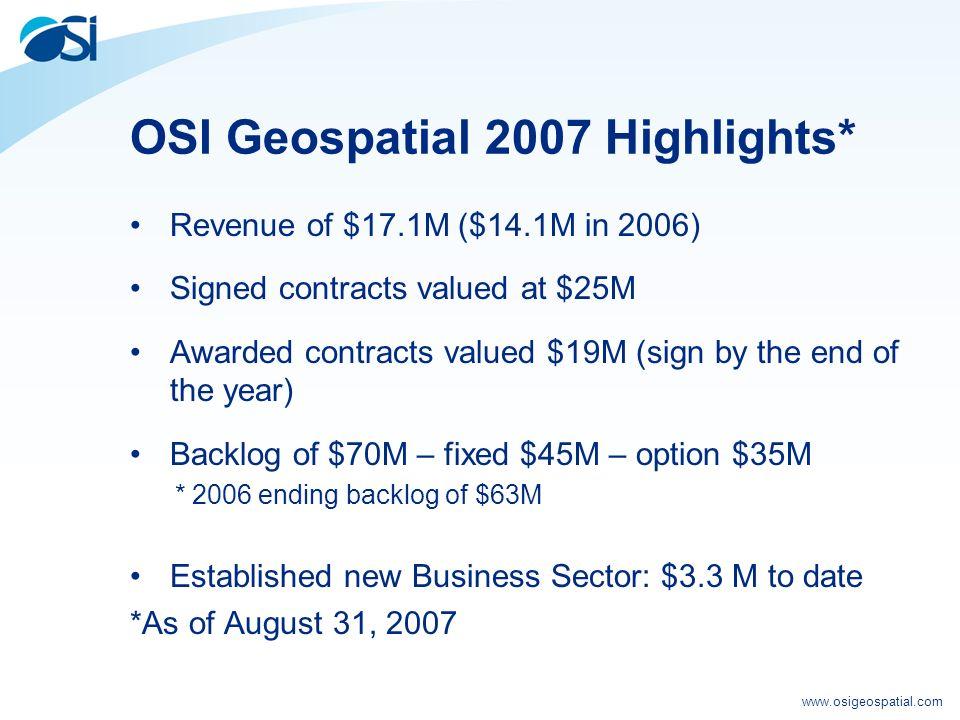 www.osigeospatial.com Our Financial Profile 2007 Revenue Forecast $26M Ending Backlog Forecast $80M