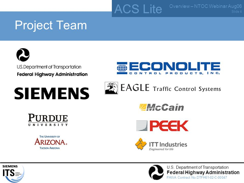 ACS Lite Overview – NTOC Webinar Aug06 U.S. Department of Transportation Federal Highway Administration FHWA Contract No.DTFH61-02-C-00047 Slide 4 Pro