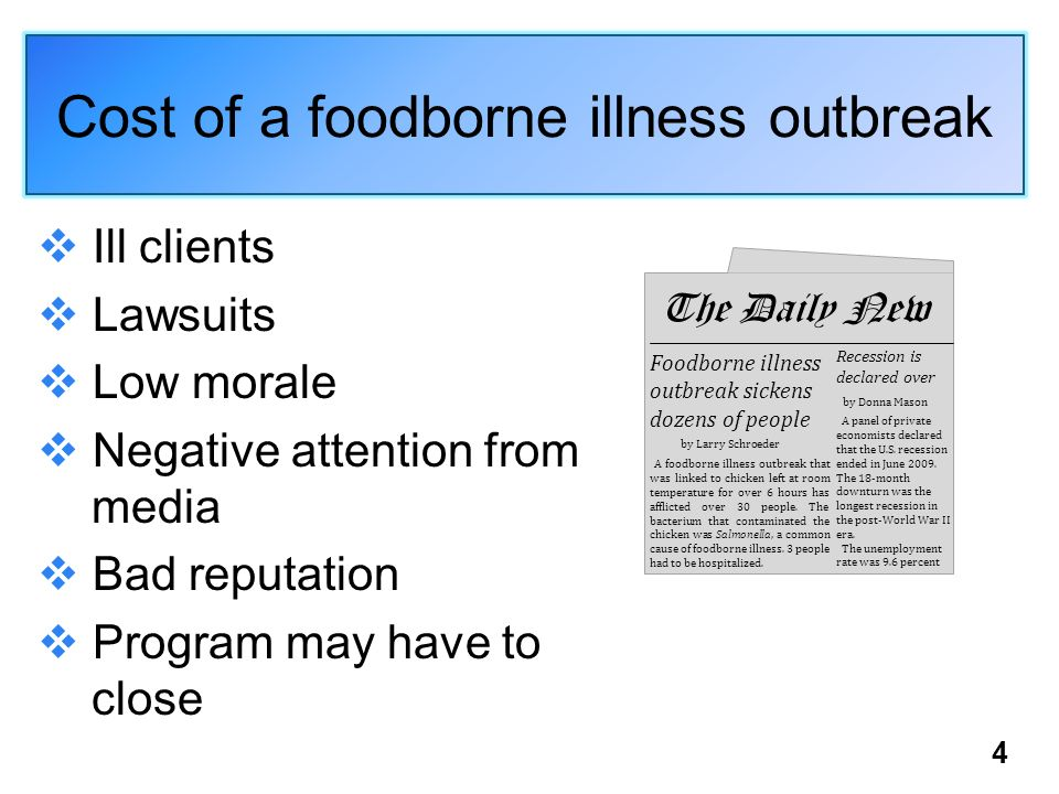 Cost of a foodborne illness outbreak Ill clients Lawsuits Low morale Negative attention from media Bad reputation Program may have to close Foodborne