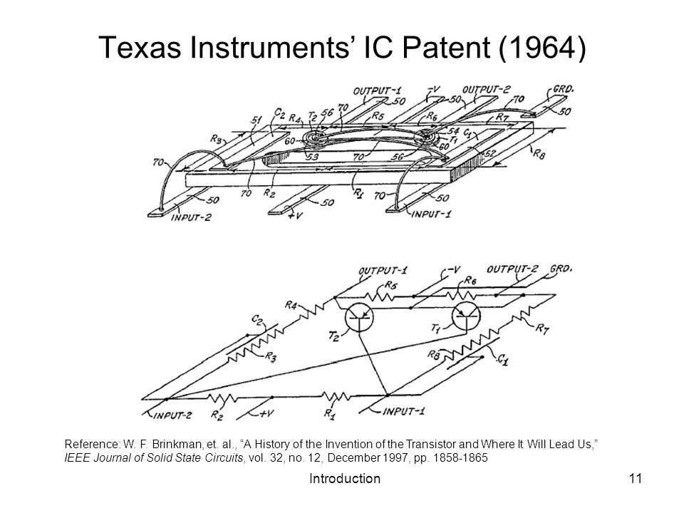 Introduction11 Texas Instruments IC Patent (1964) Reference: W. F. Brinkman, et. al., A History of the Invention of the Transistor and Where It Will L