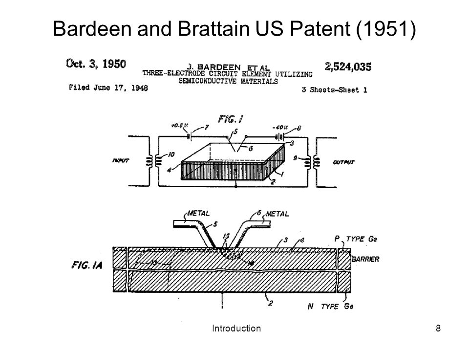 Introduction8 Bardeen and Brattain US Patent (1951)