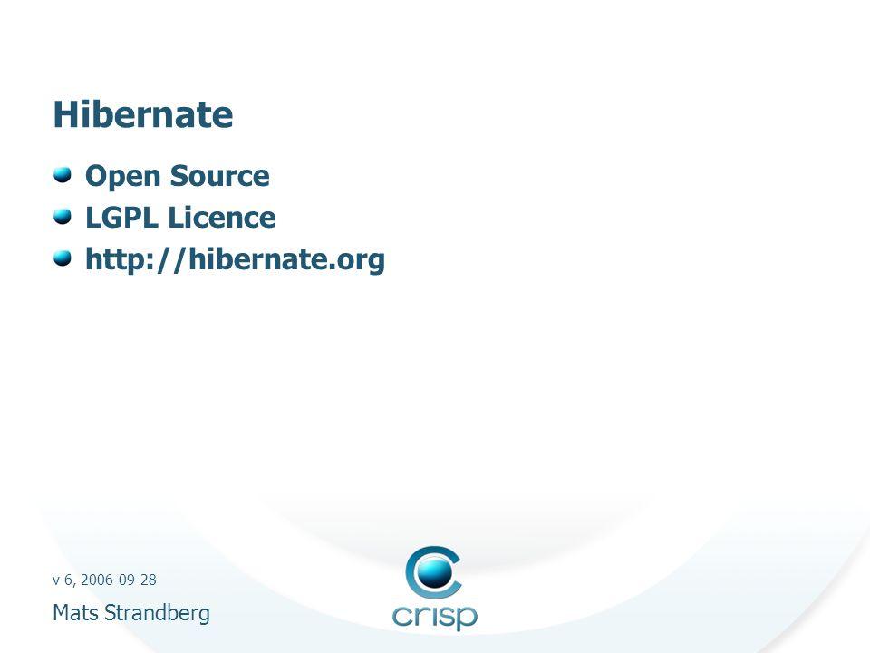 v 6, 2006-09-28 Mats Strandberg Hibernate Open Source LGPL Licence http://hibernate.org