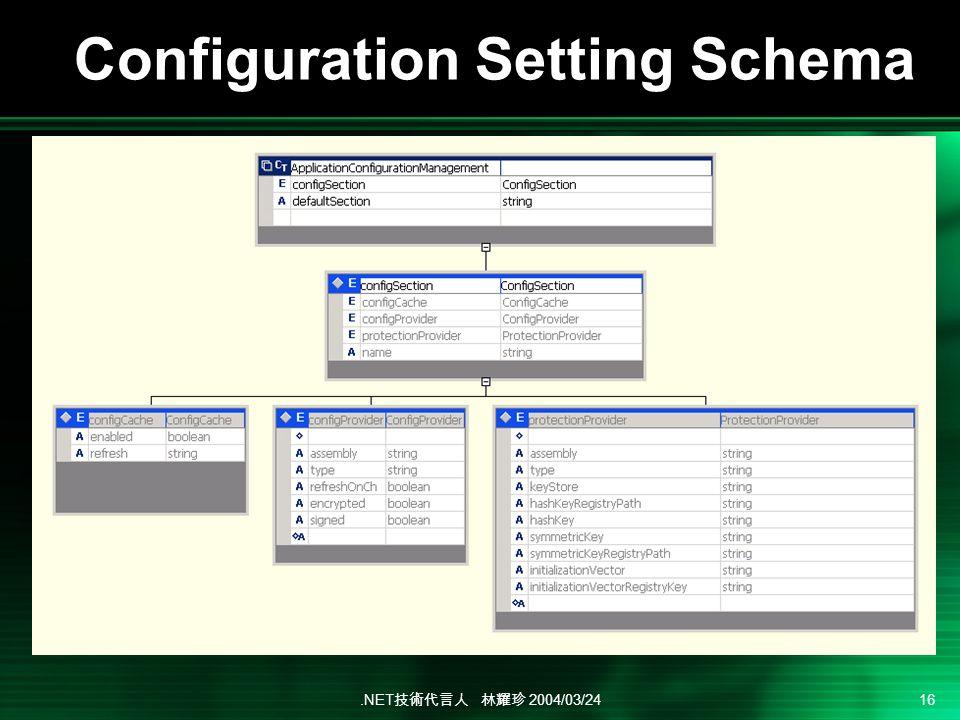 .NET 2004/03/24 16 Configuration Setting Schema