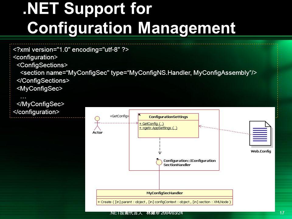 .NET 2004/03/24 17.NET Support for Configuration Management …