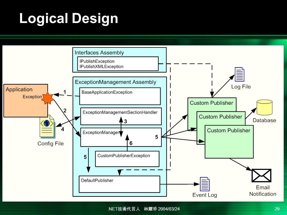 .NET 2004/03/24 29 Logical Design