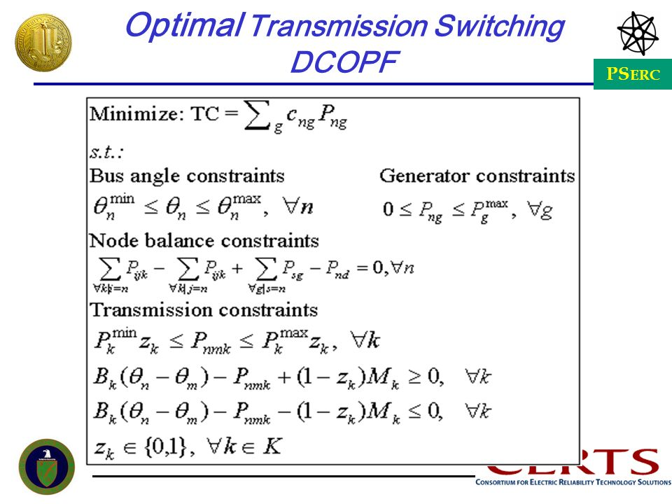 PS ERC Optimal Transmission Switching DCOPF