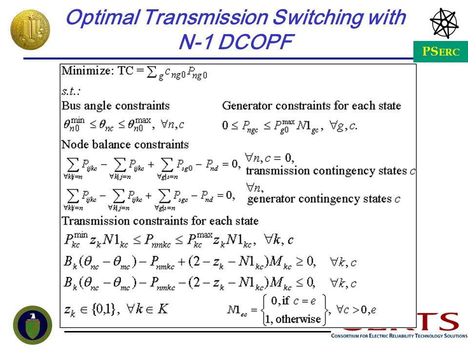 PS ERC Optimal Transmission Switching with N-1 DCOPF