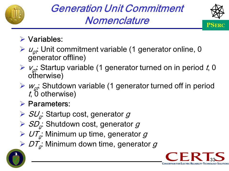 PS ERC 33 Generation Unit Commitment Nomenclature Variables: u gt : Unit commitment variable (1 generator online, 0 generator offline) v gt : Startup