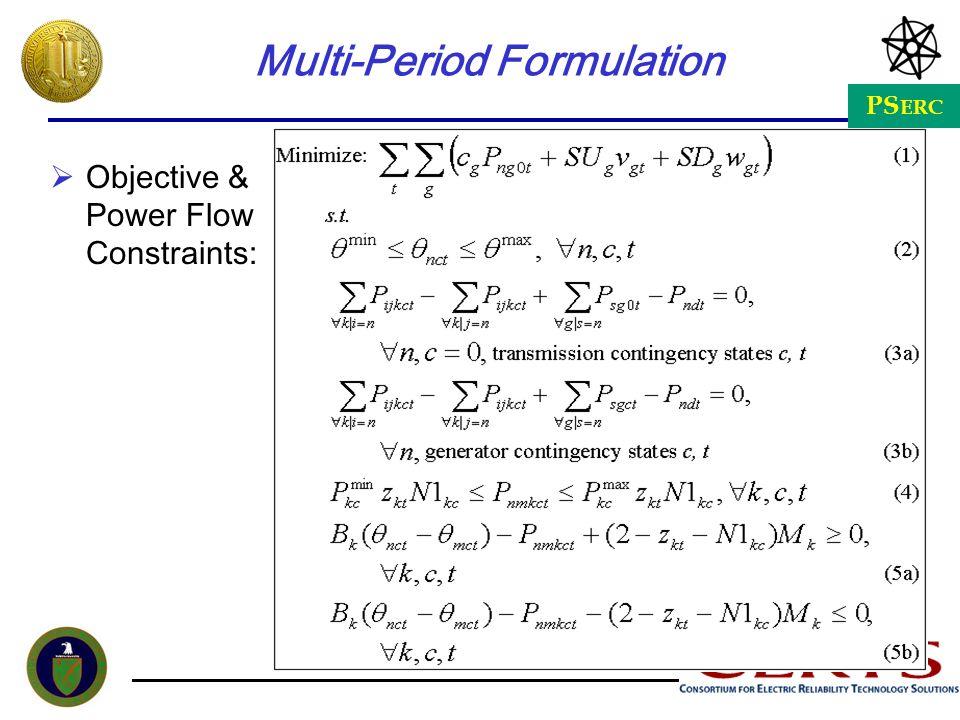 PS ERC Multi-Period Formulation Objective & Power Flow Constraints: