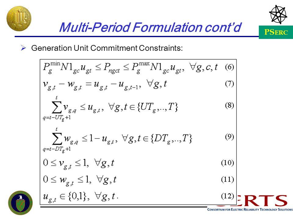 PS ERC Multi-Period Formulation contd Generation Unit Commitment Constraints: