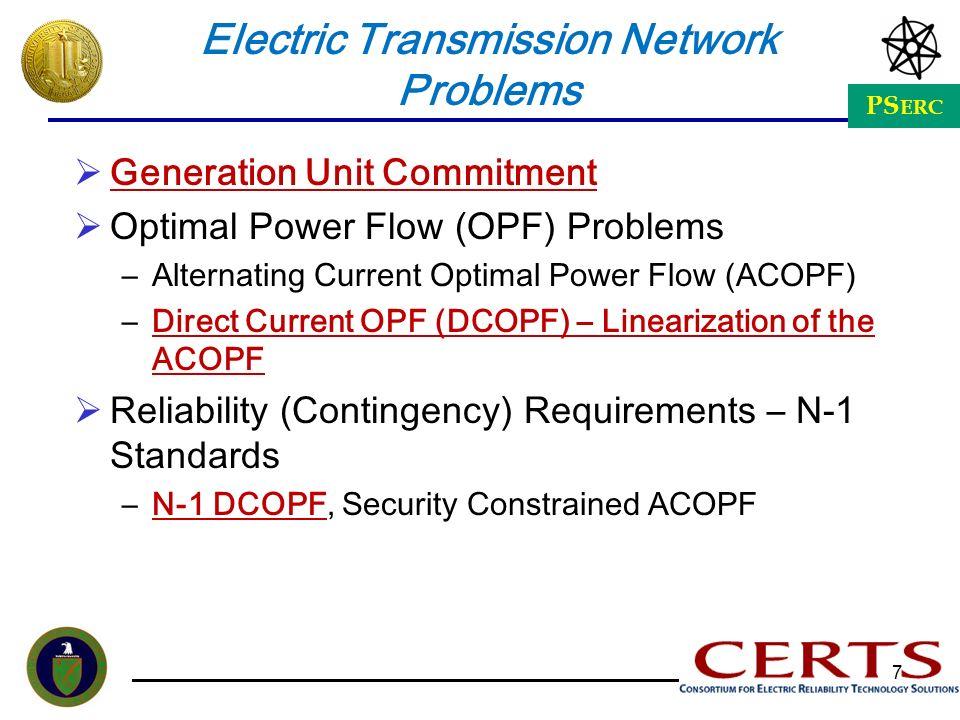PS ERC 7 Electric Transmission Network Problems Generation Unit Commitment Optimal Power Flow (OPF) Problems –Alternating Current Optimal Power Flow (