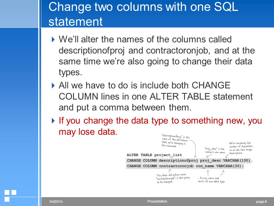 page 81/4/2014 Presentation Change two columns with one SQL statement Well alter the names of the columns called descriptionofproj and contractoronjob, and at the same time were also going to change their data types.