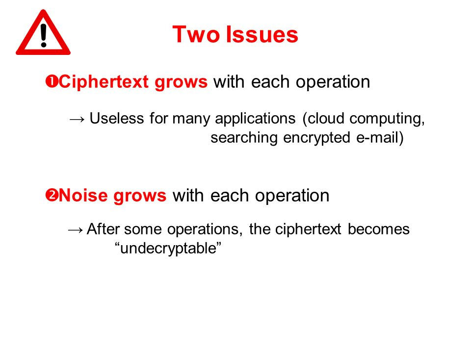 Two Issues Ciphertext grows with each operation Useless for many applications (cloud computing, searching encrypted e-mail) After some operations, the
