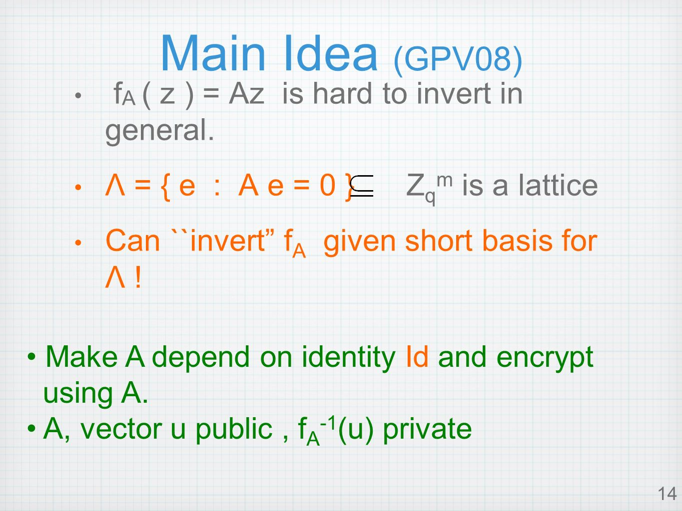 14 Main Idea (GPV08) f A ( z ) = Az is hard to invert in general.