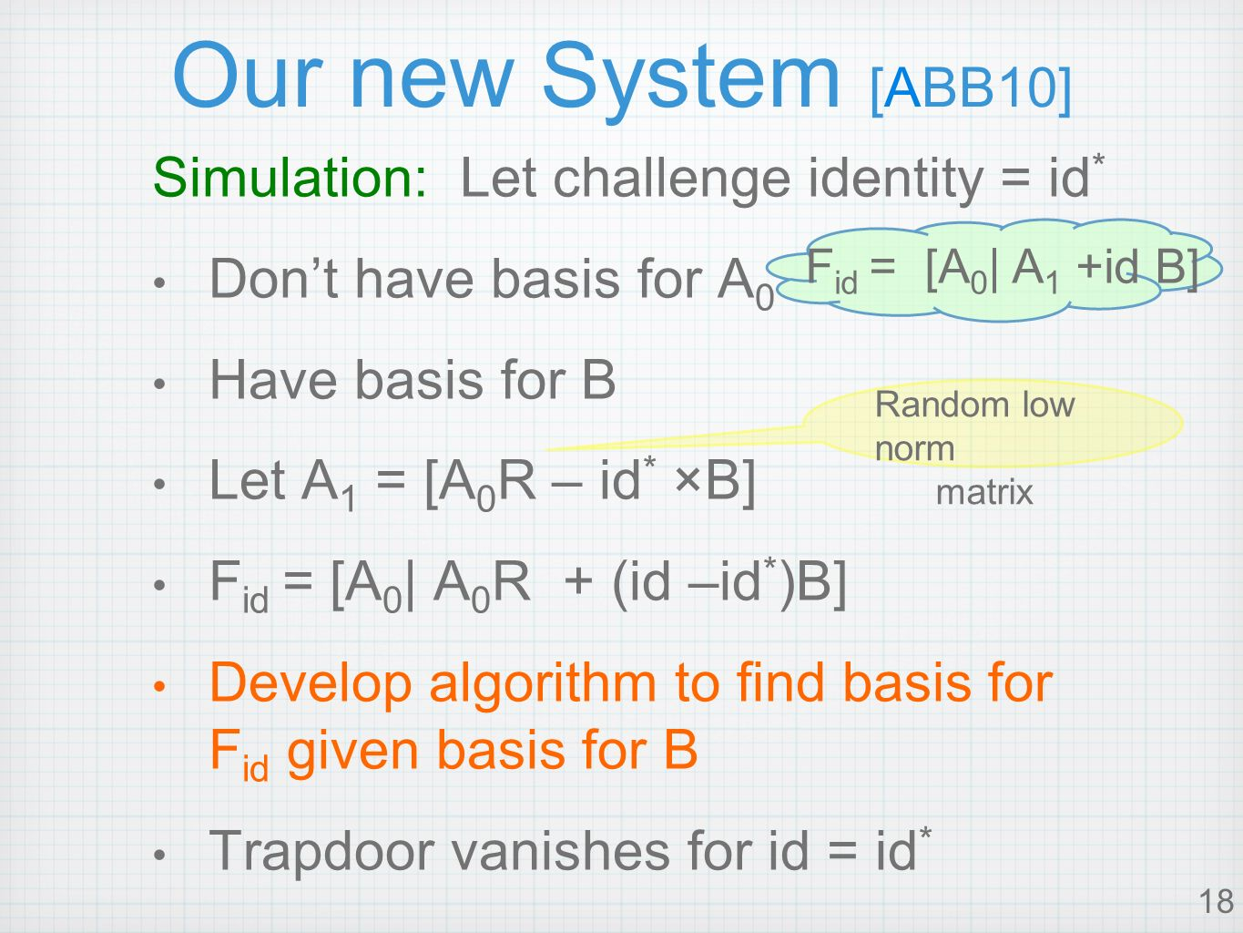 18 Our new System [ABB10] Simulation: Let challenge identity = id * Dont have basis for A 0 Have basis for B Let A 1 = [A 0 R – id * ×B] F id = [A 0 | A 0 R + (id –id * )B] Develop algorithm to find basis for F id given basis for B Trapdoor vanishes for id = id * F id = [A 0 | A 1 +id B] Random low norm matrix