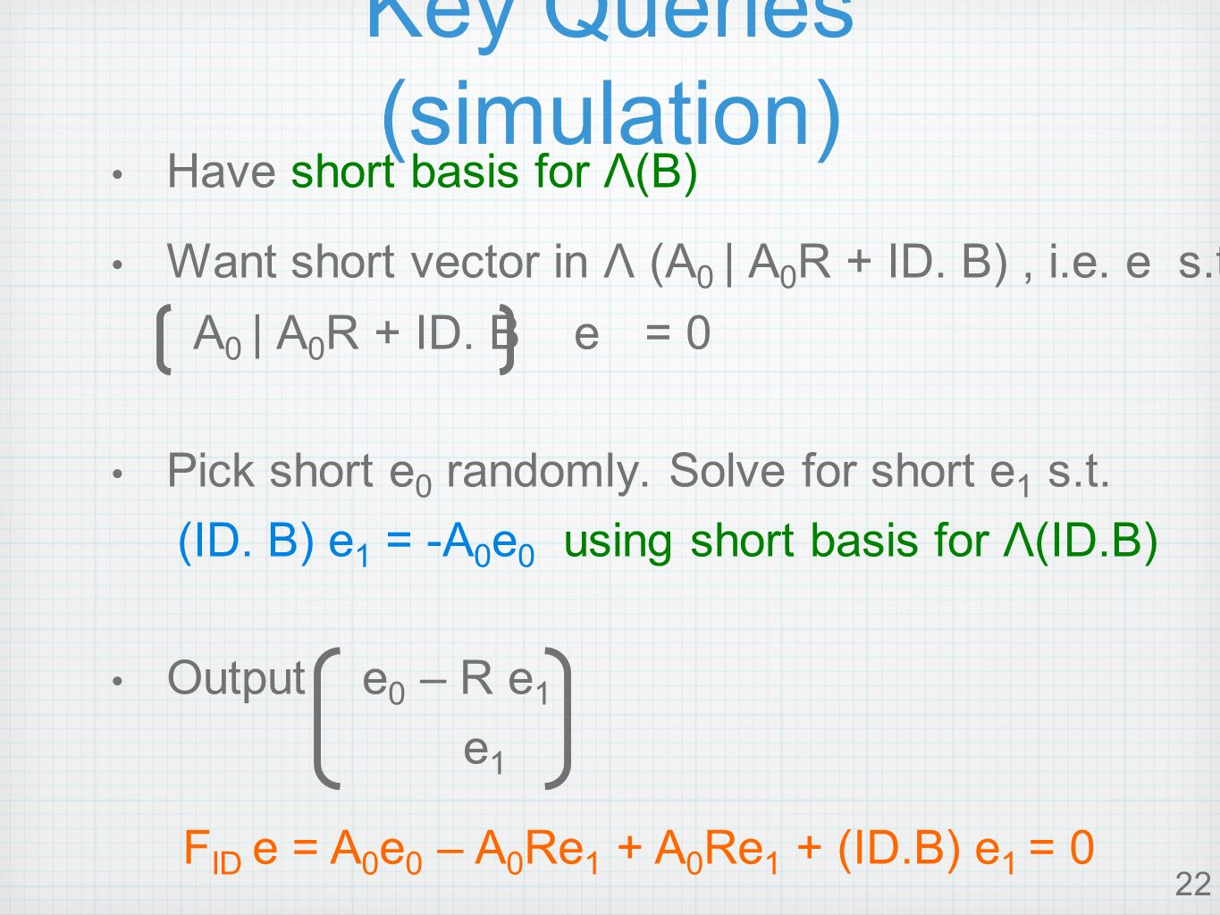 22 Key Queries (simulation) Have short basis for Λ(B) Want short vector in Λ (A 0 | A 0 R + ID.