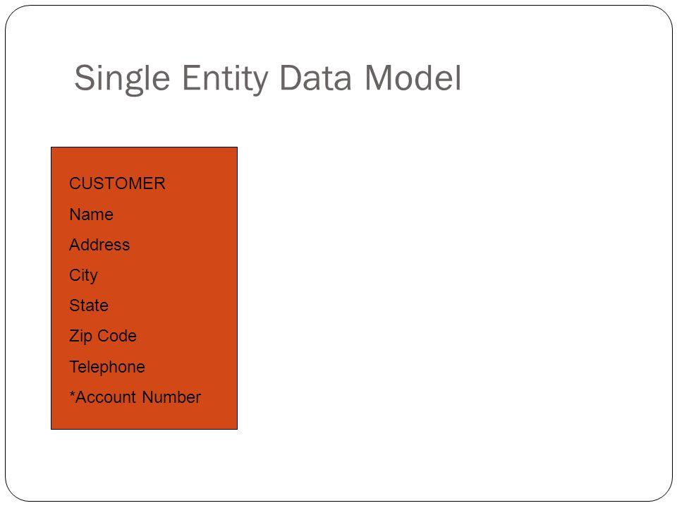 Single Entity Data Model CUSTOMER Name Address City State Zip Code Telephone *Account Number