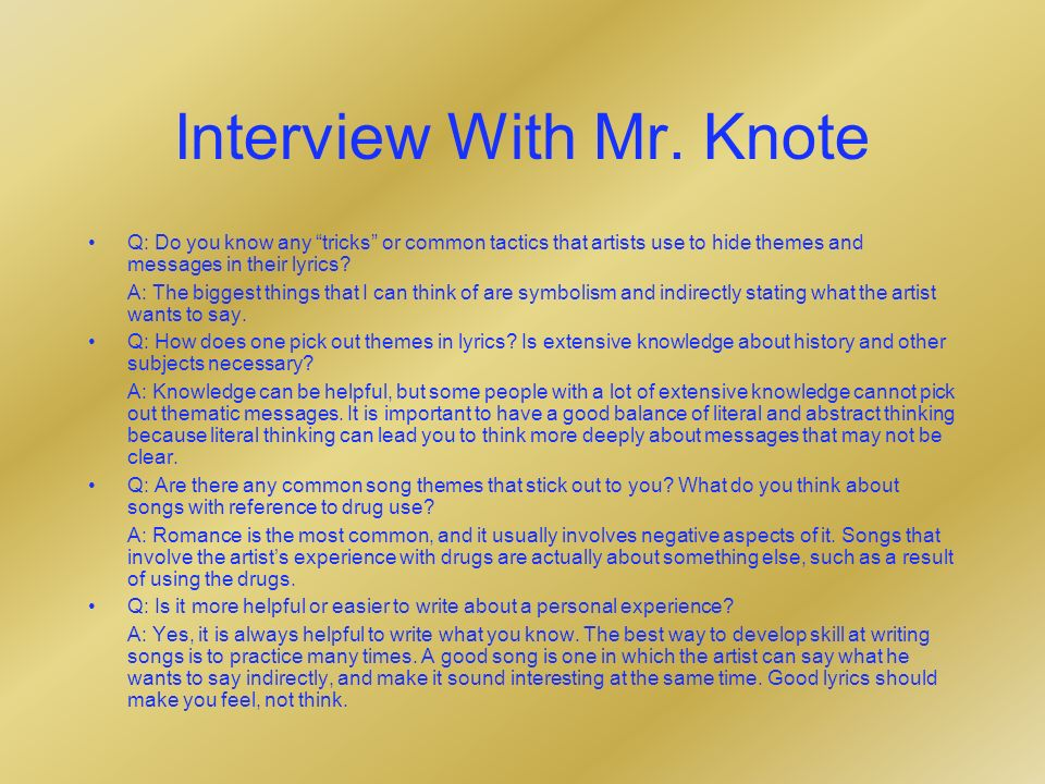 Interview With Mr.