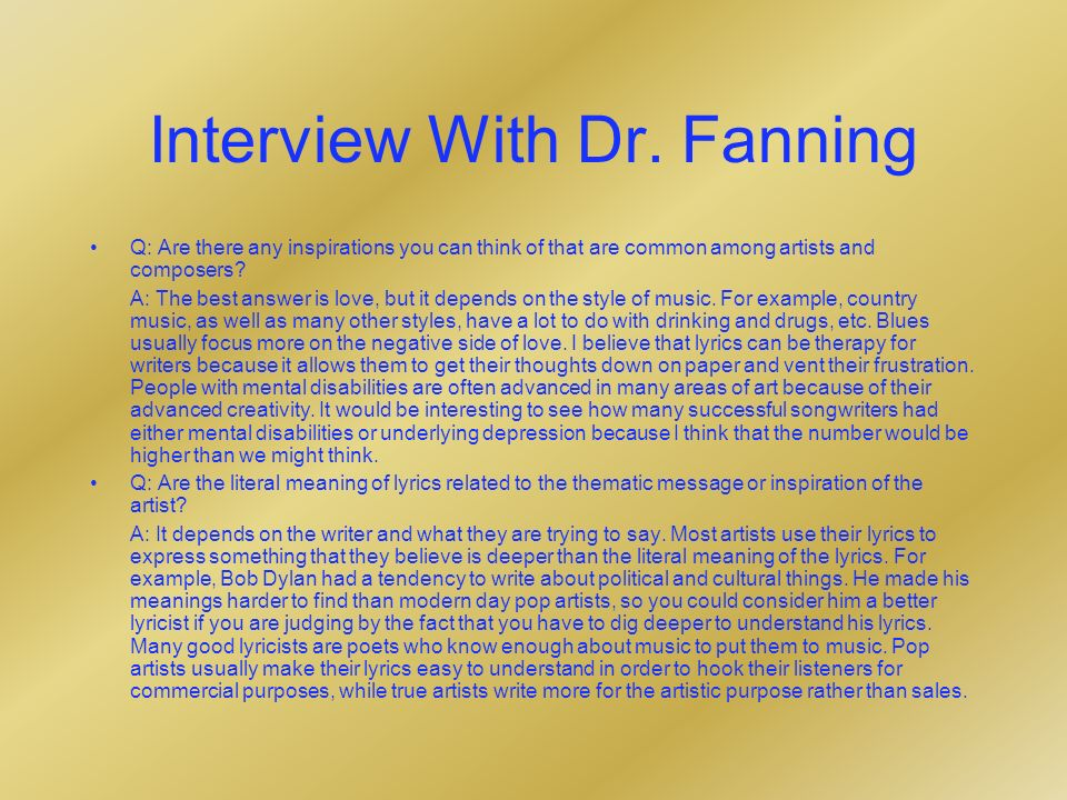 Interview With Dr.