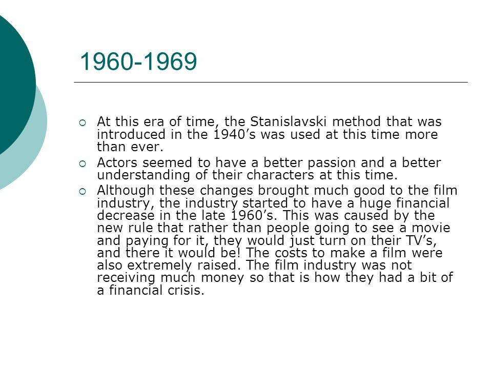 At this era of time, the Stanislavski method that was introduced in the 1940s was used at this time more than ever.