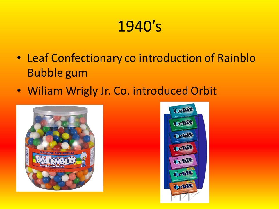 1940s Leaf Confectionary co introduction of Rainblo Bubble gum Wiliam Wrigly Jr.