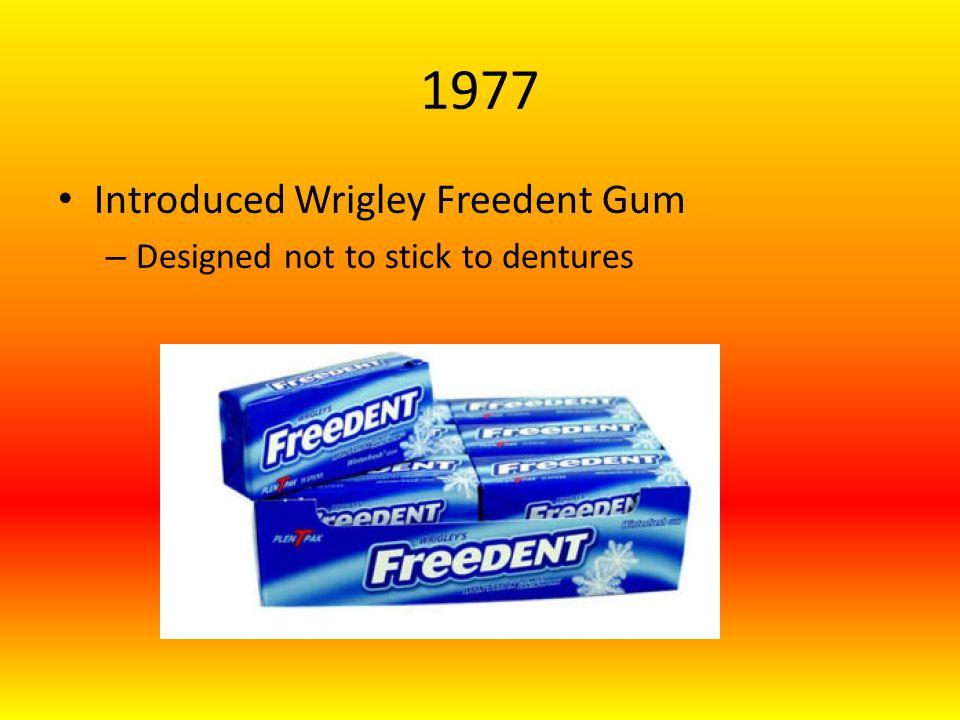 1977 Introduced Wrigley Freedent Gum – Designed not to stick to dentures
