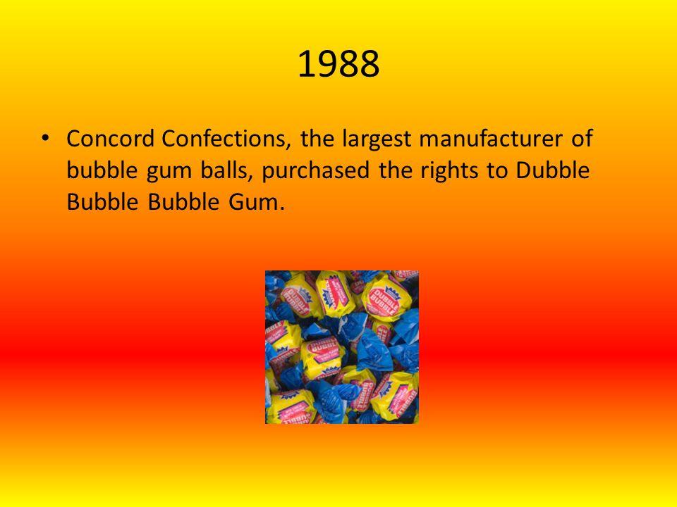 1988 Concord Confections, the largest manufacturer of bubble gum balls, purchased the rights to Dubble Bubble Bubble Gum.