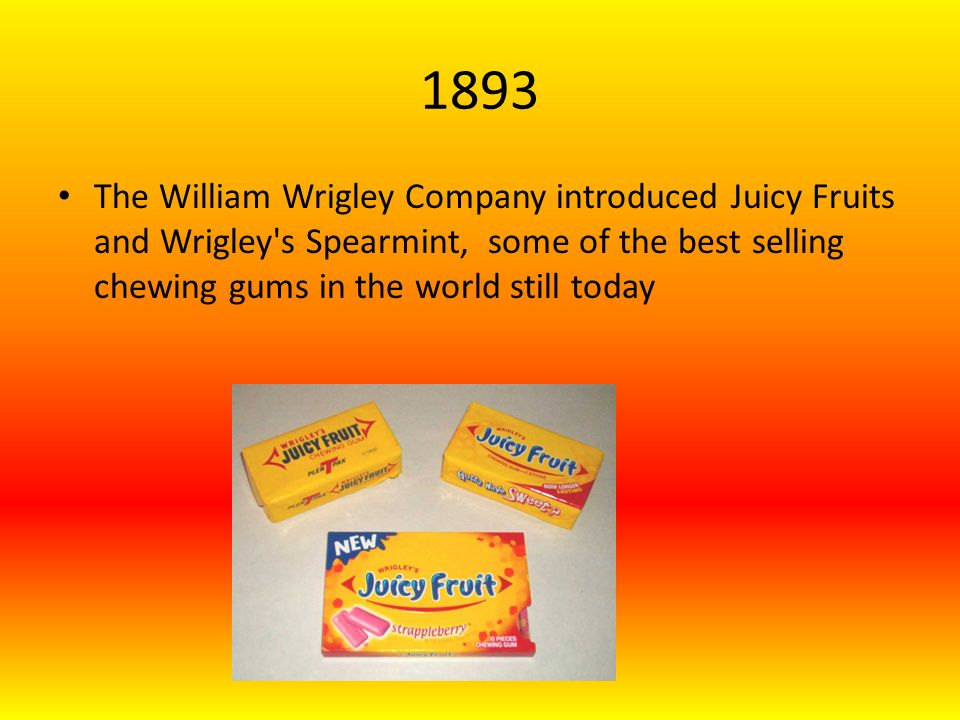 1899 American Chicle Co established – Yucatan gum, adams gum, beemans gum, and kiss me gum Franklin V.Canning introduced Dentyne Gum and Chiclets