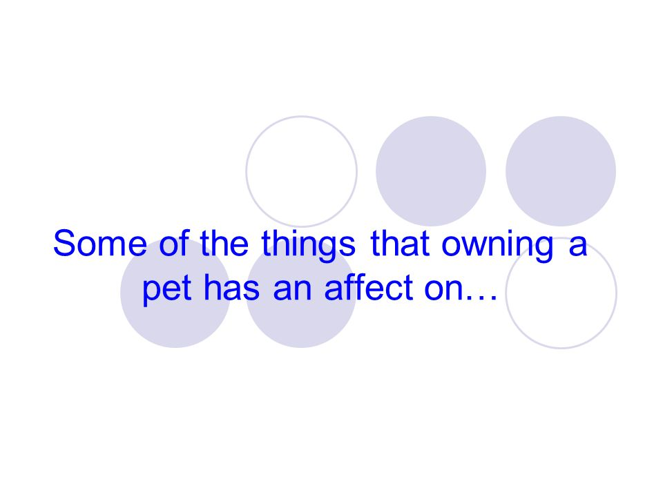 Some of the things that owning a pet has an affect on…