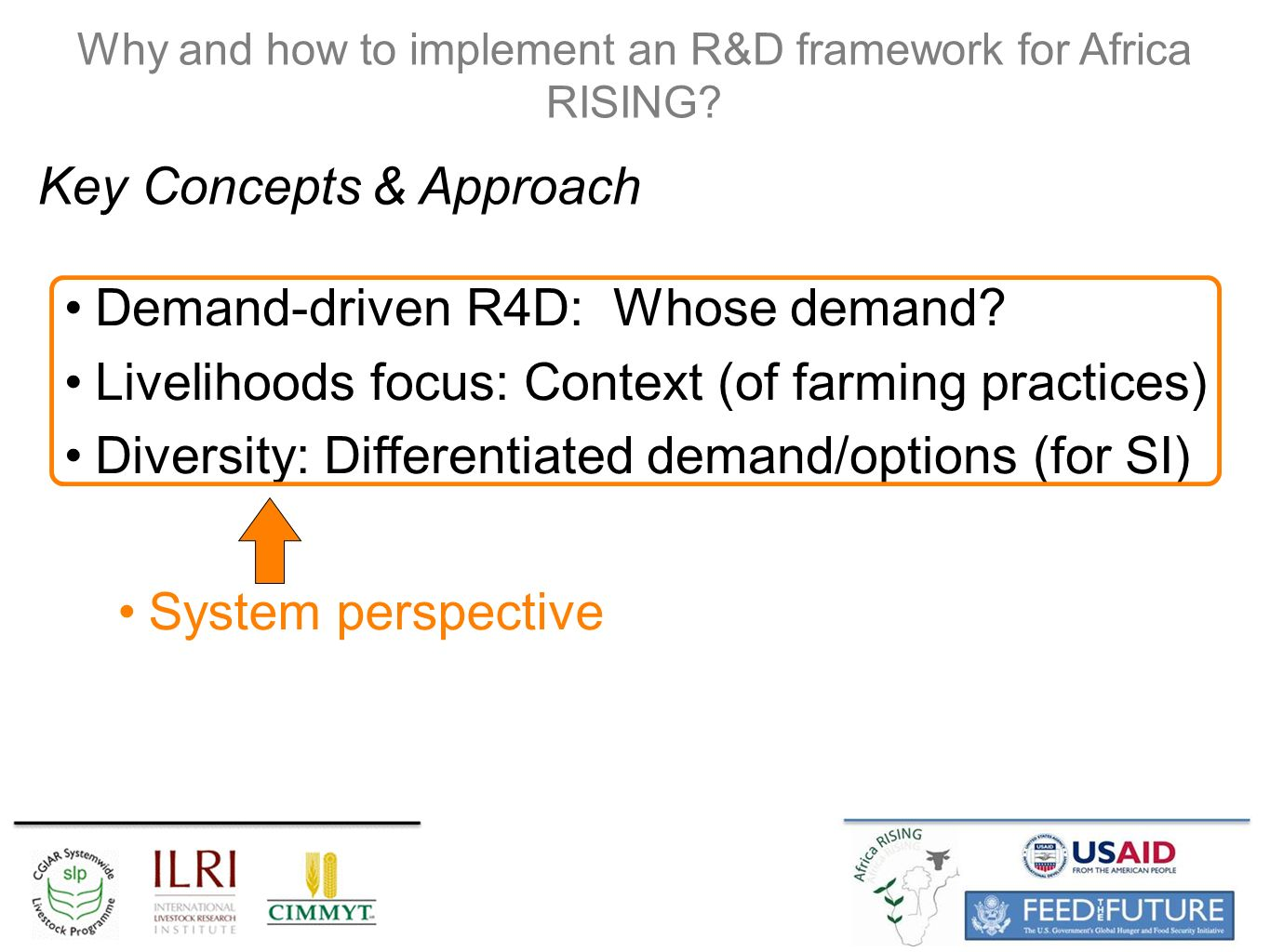 System perspective Why and how to implement an R&D framework for Africa RISING.