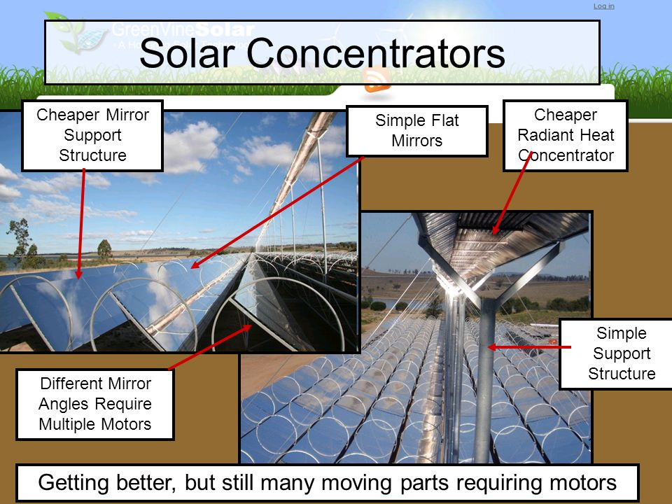 Solar Concentrators Cheaper Mirror Support Structure Cheaper Radiant Heat Concentrator Different Mirror Angles Require Multiple Motors Simple Support