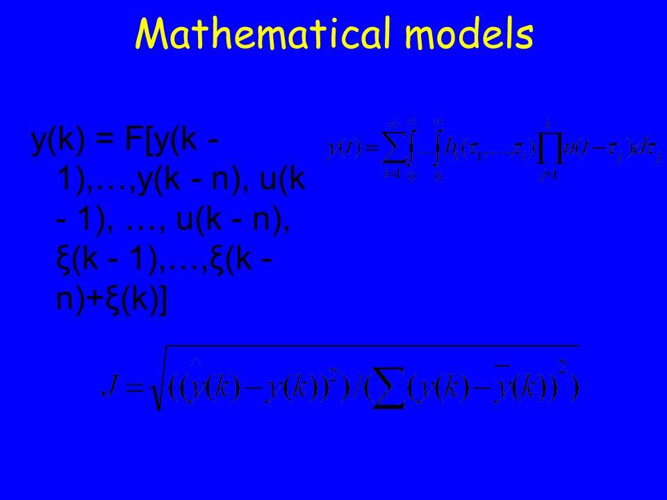 Mathematical models y(k) = F[y(k - 1),…,y(k - n), u(k - 1), …, u(k - n), ξ(k - 1),…,ξ(k - n)+ξ(k)]