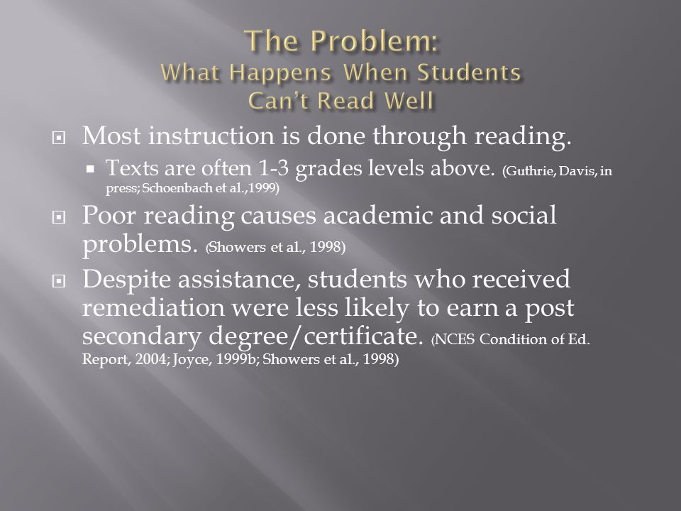 Most instruction is done through reading. Texts are often 1-3 grades levels above.